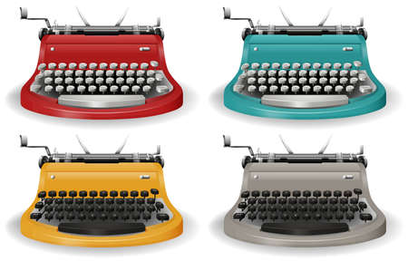 old technology: Vintage typewriter in four different colors