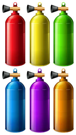 six objects: Oxygen tank in six different colors