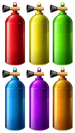 oxigeno: Tanque de ox�geno en seis colores diferentes Vectores