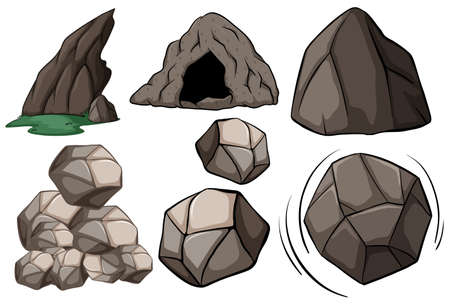 rock pile: Different pictures of cave and rocks