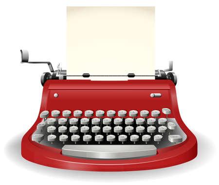 Červená psací stroj v jednoduchém designu