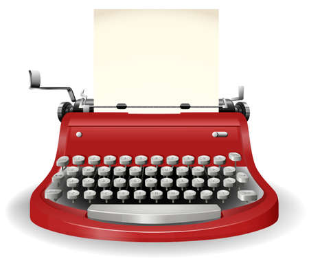typewriter machine: Red typewriter in simple design Illustration