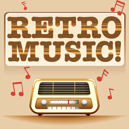 clipart speaker: Retro music sign with vintage radio and music notes
