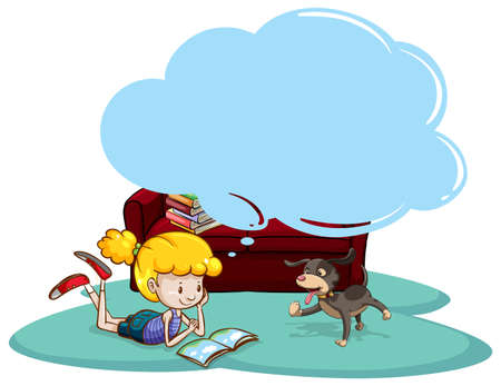 girl reading book: Girl reading book with thinking bubble Illustration