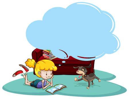 Fille livre de lecture avec la pensée bulle