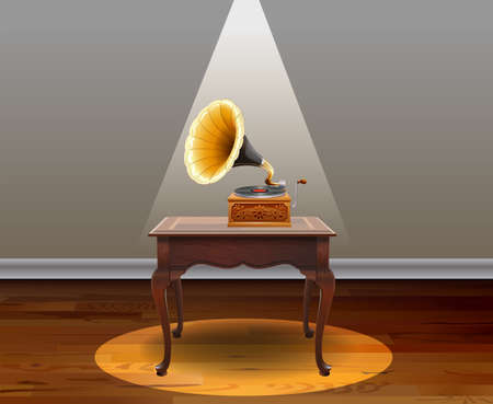 Room with table and music box on it
