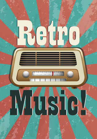 Retro music poster with vintage radio