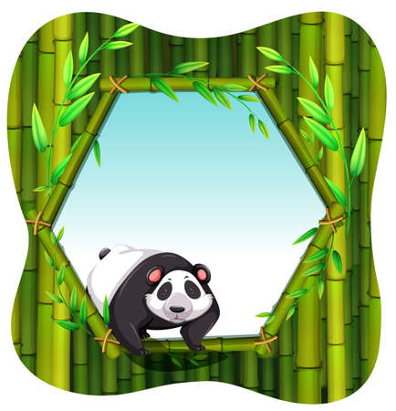 Leuke panda op de bamboe frame Stock Illustratie