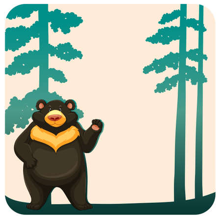 carnivore: Black grizzly bear standing in the jungle Illustration