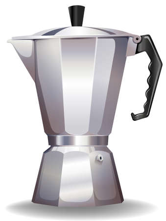Stainless steel kettle with the lid Vector