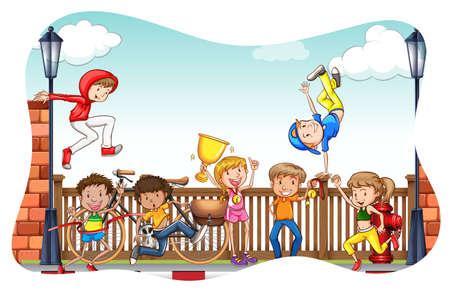 gente corriendo: Niños haciendo actividades en la calle Vectores