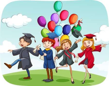 birrete de graduacion: Las personas graduadas en bata celebrando Vectores