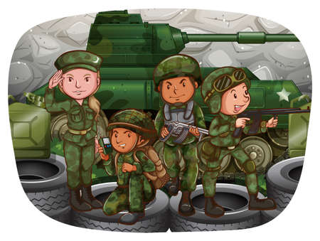 Male and female soldiers in the war zone Vector