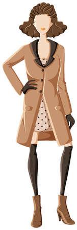 overcoat: Female model wearing overcoat and high heels