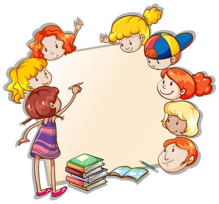 niños leyendo: Bandera en blanco con los niños alrededor de la frontera