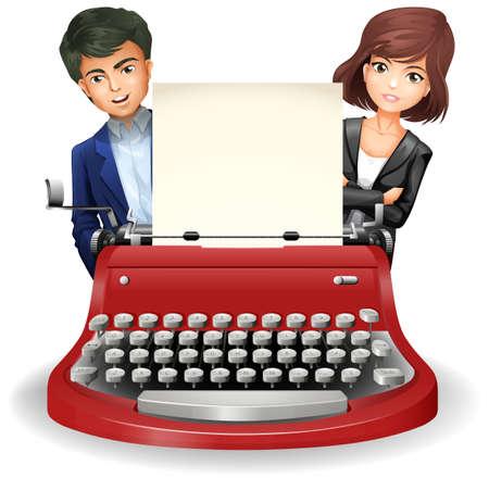 typewriter machine: Closeup typewriter with blank sheet of paper