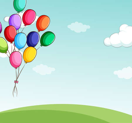 colourful sky: Colorful balloons floating in the sky