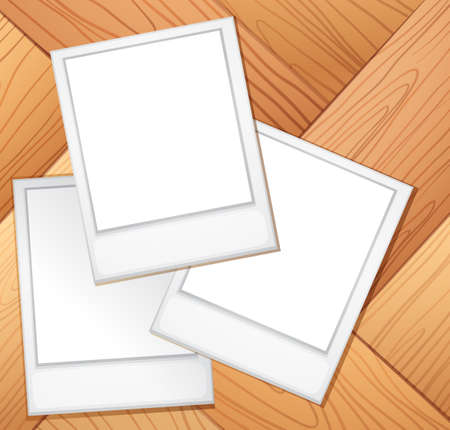 plywood: Blank photo frames on the wooden background Illustration