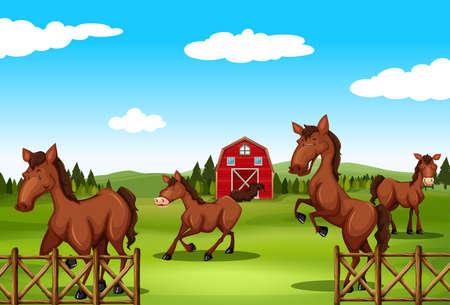 farmland: Horses running around in the farmland Illustration
