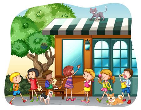 Children eating and walking in front of a shop Vector
