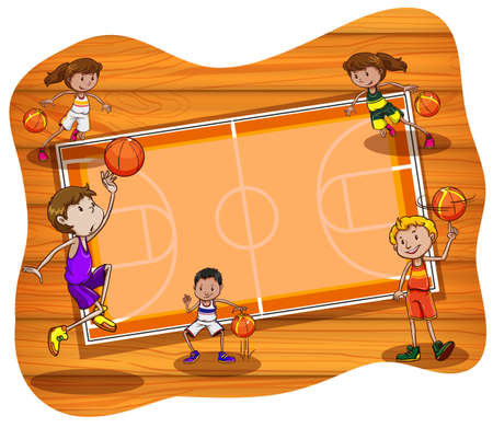 spinning: Basketball court with players practicing
