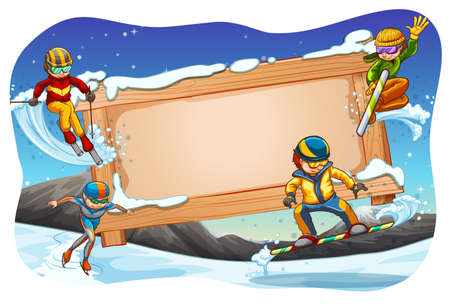 winter sports: Winter sports background with wooden sign