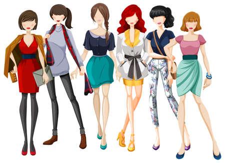 moda ropa: El diseño de moda de ropa de mujer Vectores