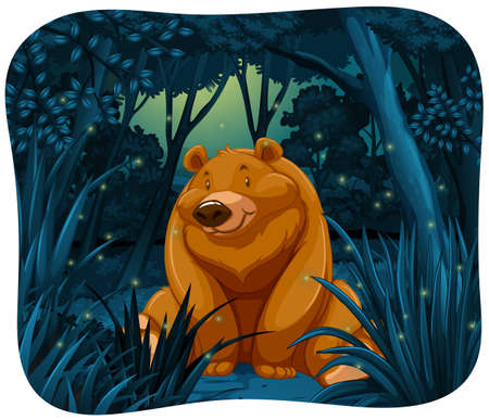 Cute bear surrounded by fireflies in the jungle at night. Stock Photo