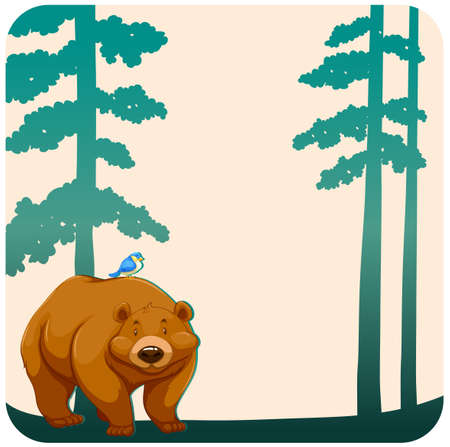 grizzly: Brown grizzly bear with a bird on the back Illustration