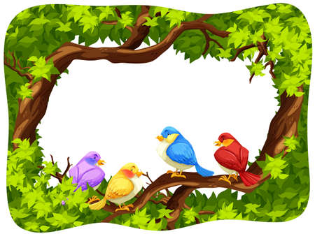 background picture: Wild birds on the branch of the tree