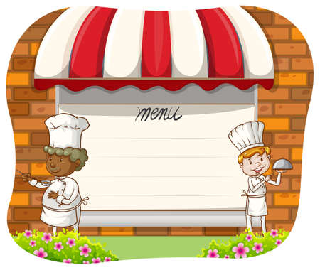 chef clipart: Blank menu board with two chefs along sides Illustration