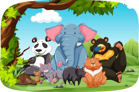 tropical forest: Wild animals sitting in the middle of the field