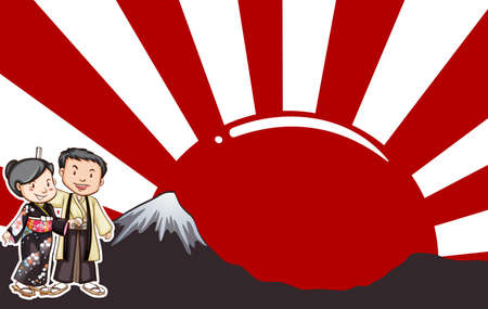 rising sun: Japanese man and woman with rising sun