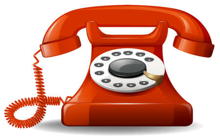 numbers clipart: Red retro style telephone on a white background