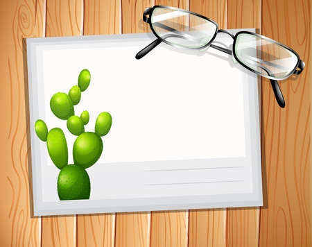 envelop: Envelop with a cactus design and a pair of eyeglasses on it Illustration