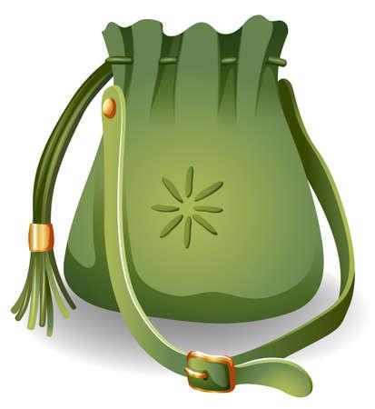 slings: Modern green bag on a white background