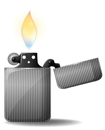 cigarette lighter: Retro metal cigarette lighter on a white background