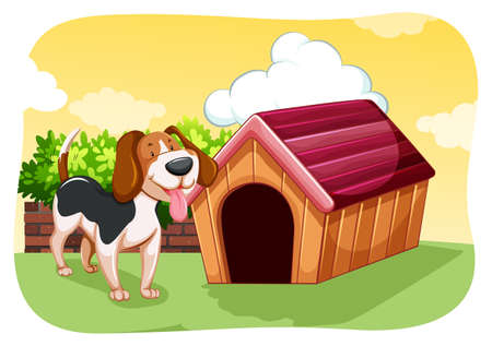 kennel: Cute dog standing in front of its kennel in a garden