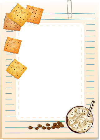 Notepad with biscuits and ice cream design Vector