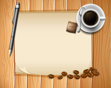 plywood: Blank paper and coffee on the wooden board
