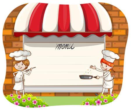 menu board: Blank menu board with two chefs beside it