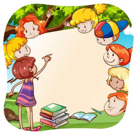 Girl teaching other kids in a gardenunder a tree Illustration