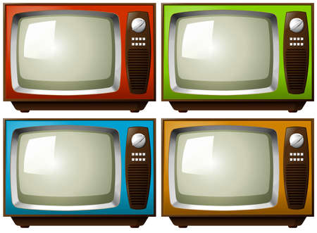televisions: Vintage televisions in four different colors Illustration