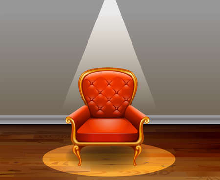 Red armchair in the middle of the room Vector