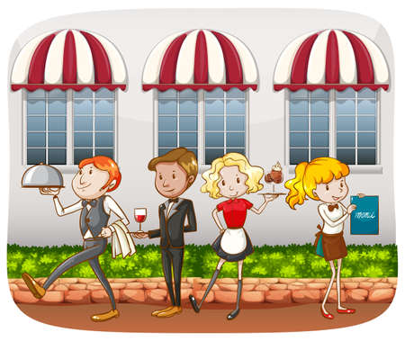 serving food: Waiters and waitresses serving food outdoor