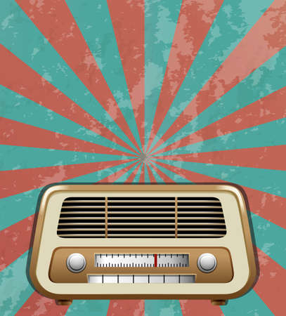 retro radio: Vintage radio with beamlight bacground