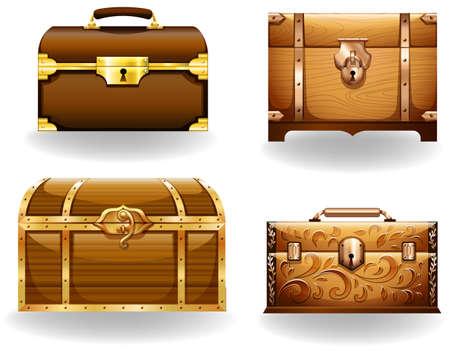 cofre del tesoro: Conjunto de cuatro estilos diferentes de cofre del tesoro