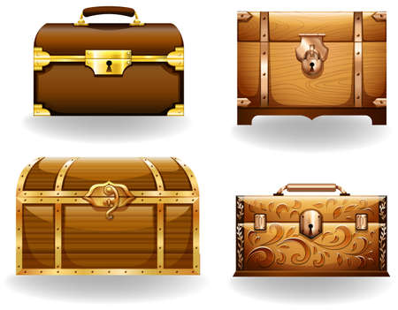 treasure box: Set of four different styles of treasure chest Illustration