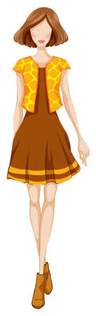 short dress: Sketch of a woman in short brown dress and yellow jacket