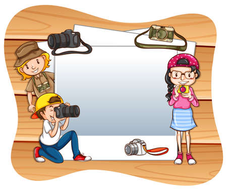 taking picture: Photo frames with photographers and camera background Illustration